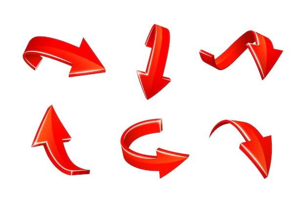 Satz rote pfeilaufkleber