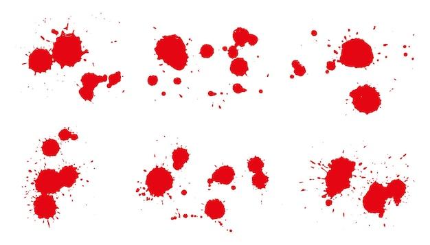 Satz rote tinte spritzt