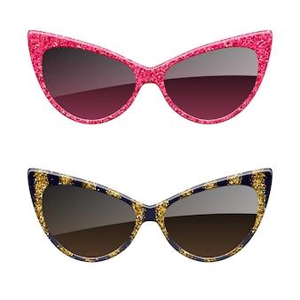 Satz rote und goldene glitzersonnenbrillensymbole. mode brillen accessoires.