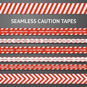 Satz rote und weiße nahtlose vorsichtbänder mit verschiedenen zeichen