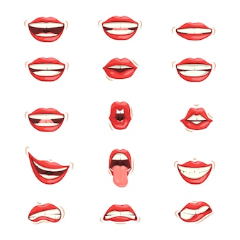 Satz rote weibliche lippen mit verschiedenen emotionalen ausdrücken.