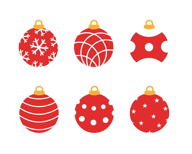 Satz rote weihnachtskugeln. vektor-illustration