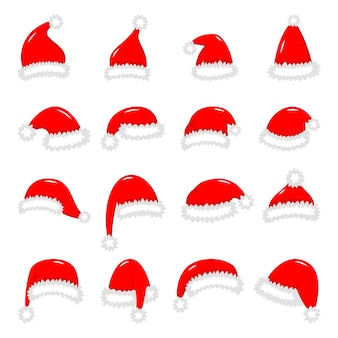 Satz rote weihnachtsmannhüte lokalisiert auf weißer hintergrundillustration.