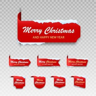 Satz rote winterkarten frohe weihnachten label für frohe weihnachten mit schnee