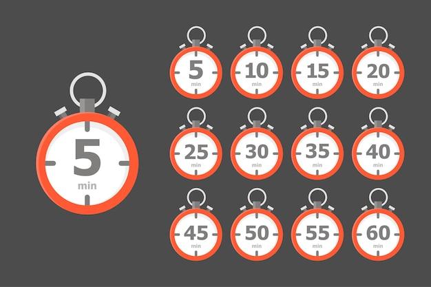 Satz roter uhren, die jeweils ein zeitintervall von 5 minuten auf dunkelgrau anzeigen