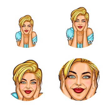 Satz runde avataraikonen der pop-art für benutzer von social networking, blogs, profilikonen.