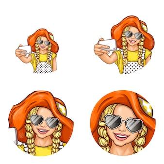 Satz runde avatarasikonen der pop-art für benutzer des social networking, blogs, profilikonen.