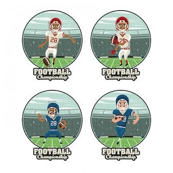 Satz runde embleme des fußballsports