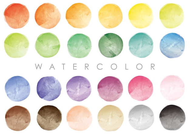 Satz runde farbfelder oder hintergründe des aquarells. vektor lokalisiert auf einem weißen hintergrund.