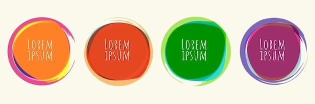Satz runde form der kreise mit hellen farbelementen der bürstenlinie lokalisiert auf weißem hintergrund. vektor-illustration