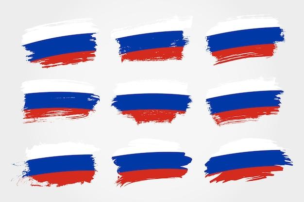 Satz russland pinselstrich flaggen sammlung