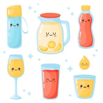 Satz säfte süße kawaii karaffe glasflasche tröpfchen cartoon-stil