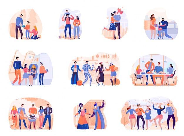 Satz saisonferien geburtstag halloween grillparty thanksgiving und karneval in venedig isoliert illustration