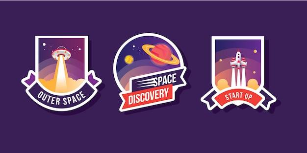 Satz sammlung exploration space logo set mit raketenschiff astronauten galaxie planet ufo patches embleme abzeichen und etiketten illustration
