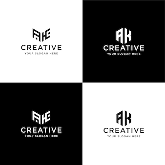 Satz sammlung initialen ak logo design-vorlage
