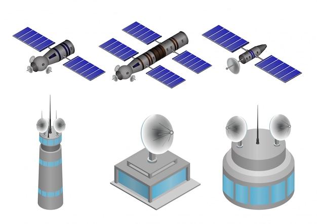 Satz satelliten- und sendergebäudeillustrationen