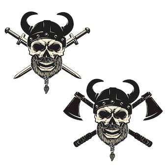 Satz schädel in wikingerhelmen mit gekreuzten schwertern und äxten. elemente für plakat, emblem, zeichen, t-shirt druck.