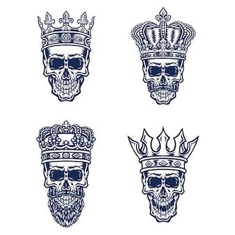 Satz schädel mit königskrone, lokalisiert auf weißem hintergrund