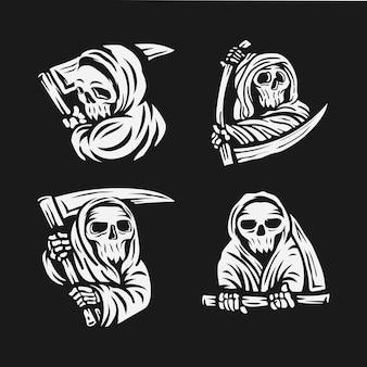 Satz schädel-sensenmann mit der sichel-logo-illustration