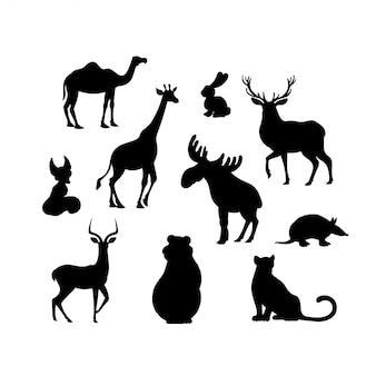 Satz schattenbilder des karikaturtiers. kamel, fuchs, jaguar, elch, bär, gürteltier, hase, hirsch, impala, giraffe