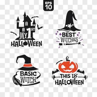 Satz schattenbilder halloween-ikonen mit zitat für parteidekoration und ausschnittaufkleber
