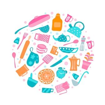 Satz schattenbildküchengeräte und sammlung kochgeschirrikonen in rundem