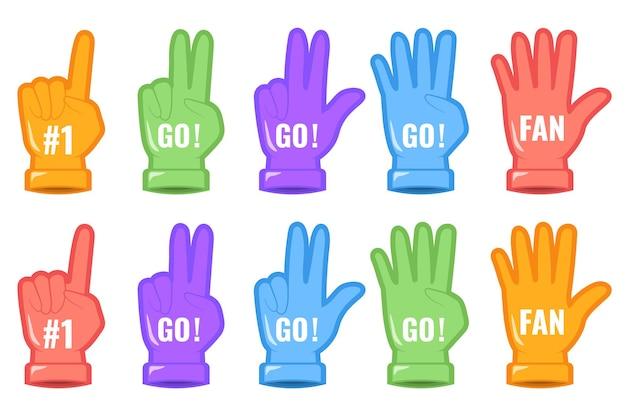 Satz schaumhandfinger. sportunterstützungszeichen nummer eins fan. nummer eins und go design. website-seite und design der mobilen app. elemente zur veranschaulichung der sportlichen unterstützung. flache illustration des vektors, eps 10