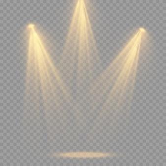 Satz scheinwerfer isoliert auf transparentem hintergrund. glühender lichteffekt mit strahlen und strahlen