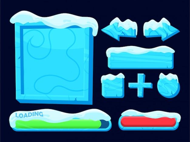 Satz schnee gefrorener knopf, ladeleiste und hintergrundschablone für spiel-ui-elemente