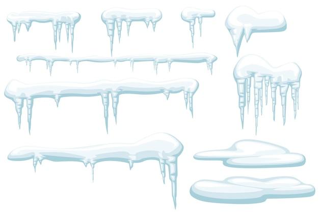 Satz schneeeiszapfen und schneekappen winterelemente flache vektorillustration lokalisiert auf weißem hintergrund.