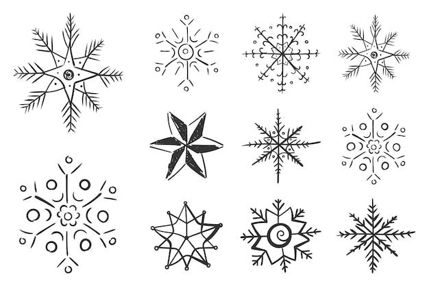 Satz schneeflocken im gekritzel für winterdesign-schneeflocke handgezeichnetes weihnachtsweihnachtsgekritzel