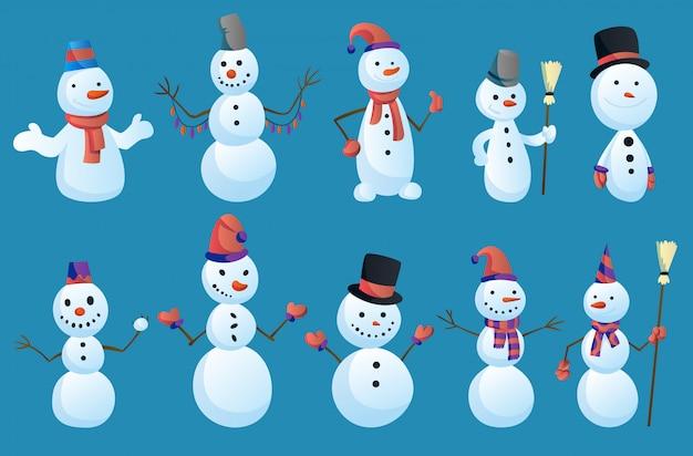 Satz schneemänner in verschiedenen posen mit zylinder und schal lokalisiert auf weißem hintergrund. winterthema. zeichenillustration
