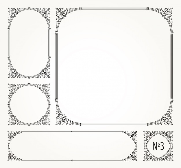 Satz schnörkel kalligraphisch elegante zierrahmen und ränder - illustration.