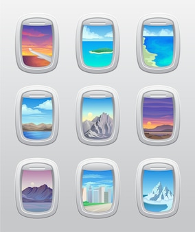 Satz schöne ansichten ihres flugzeugfensters. .