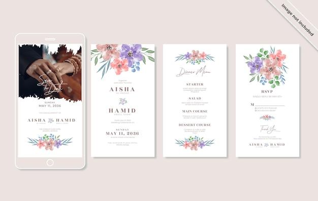 Satz schöne aquarellblumenhochzeits-instagram-geschichten-vorlagendesign
