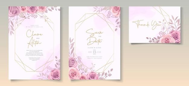 Satz schöne hochzeitseinladungsschablone mit hand gezeichneter rosa rosenblumenverzierung