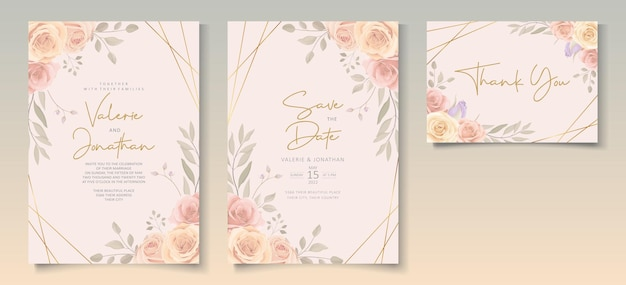 Satz schöne hochzeitseinladungsschablone mit hand gezeichneter rosenblumenverzierung