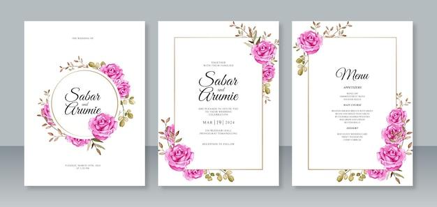 Satz schöne hochzeitseinladungsschablonen mit rosafarbenen rosen des aquarells