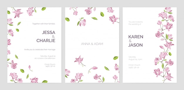 Satz schöne hochzeitsfeiereinladungsschablonen verziert mit rosa blühenden magnolienblumen.