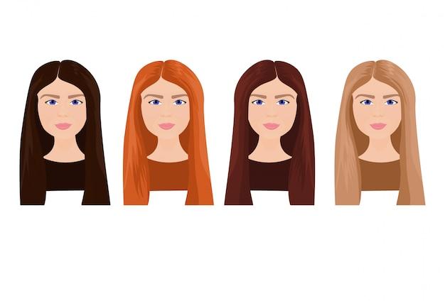Satz schöne junge frauen-gesichter mit dem langen haar in den verschiedenen farben lokalisiert
