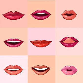 Satz schöne weibliche lippen