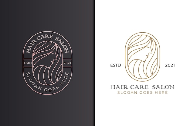 Satz schönheit und frau friseursalon logo, schönheit langes haar logo line art stil