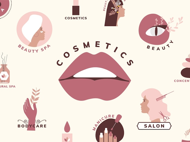 Satz schönheits- und kosmetikikonen