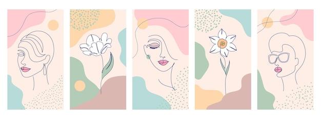 Satz schönheits- und modeillustrationen für druck. frau mit blumen und abstrakten formen