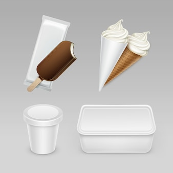 Satz schokoladen-eis am stiel choc-ice lollipop softeis-eiscreme-waffelkegel mit weißer plastikverpackung und kastenbehälter für paket-nahaufnahme auf hintergrund.