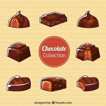 Satz schokoladenbonbons mit verschiedenen aromen