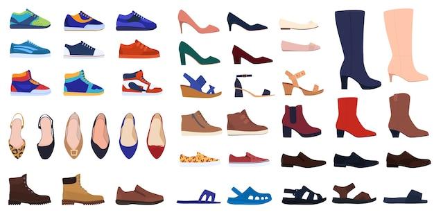 Satz schuhe. herren- und damenschuhe. schuhe für alle jahreszeiten. turnschuhe, schuhe, stiefel, sandalen, flip flops.