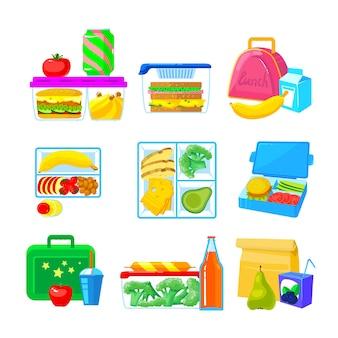 Satz schul-lunchboxen, lunchbox-sammlung mit fast food