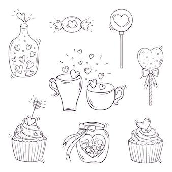 Satz schwarz-weiß-elemente für st. valentinstag im doodle-stil.
