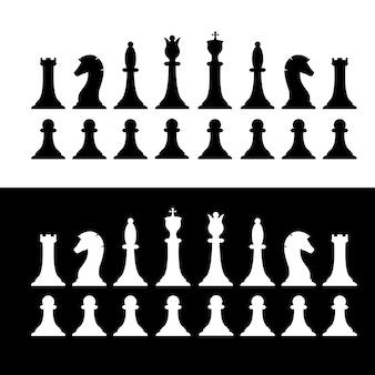 Satz schwarz-weiß-schachfiguren